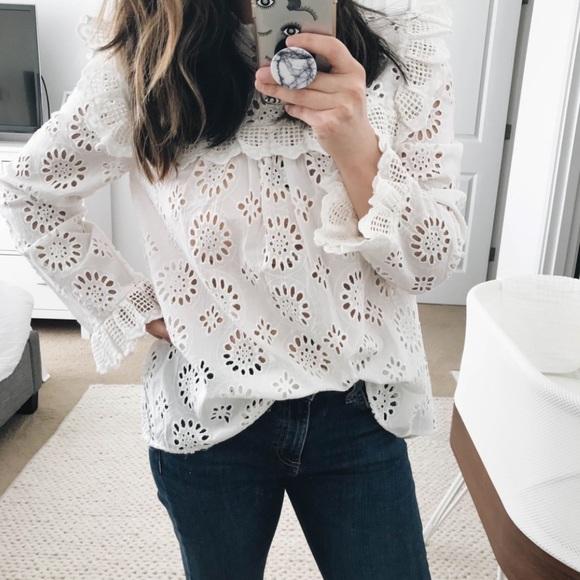 5d5a6f40b8647e Zara die cut embroidered blouse
